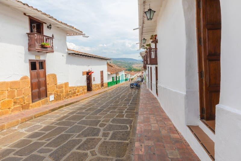 Barichara哥伦比亚历史街道  图库摄影
