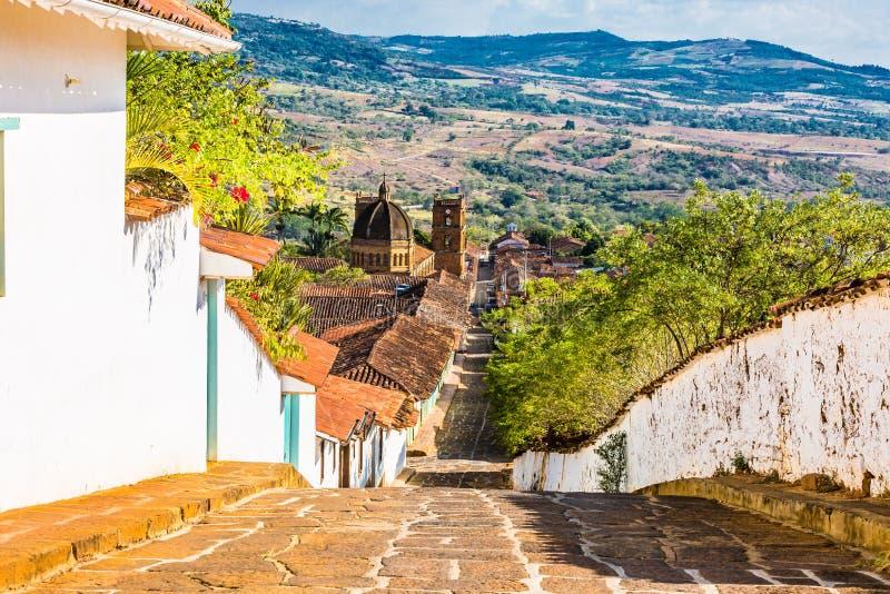 Barichara地平线都市风景桑坦德哥伦比亚 免版税库存图片