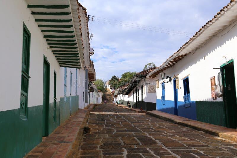 Barichara殖民地村庄在圣希尔,哥伦比亚附近的 免版税库存照片