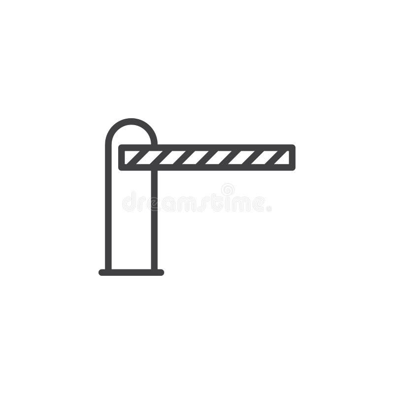 Bariera zamykał kreskową ikonę, konturu wektoru znak, liniowy stylowy piktogram odizolowywający na bielu royalty ilustracja