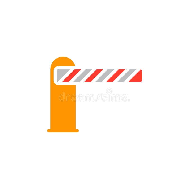 Bariera zamykający ikona wektor, wypełniający mieszkanie znak, stały kolorowy piktogram odizolowywający na bielu ilustracji