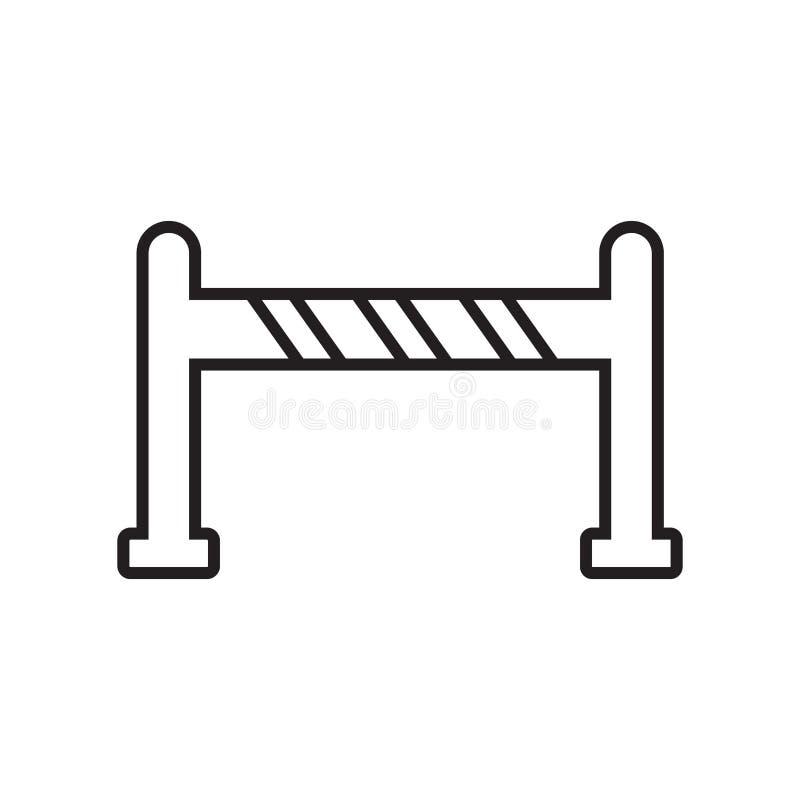 Bariery ikony wektor odizolowywający na białym tle, bariera znak, znak i symbole w cienkim liniowym konturze, projektujemy ilustracji