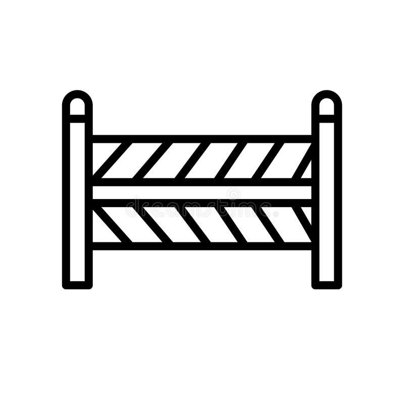 Bariery ikony wektor odizolowywający na białym tle, bariera znak, liniowy symbol i uderzenie projekta elementy w konturze, projek royalty ilustracja