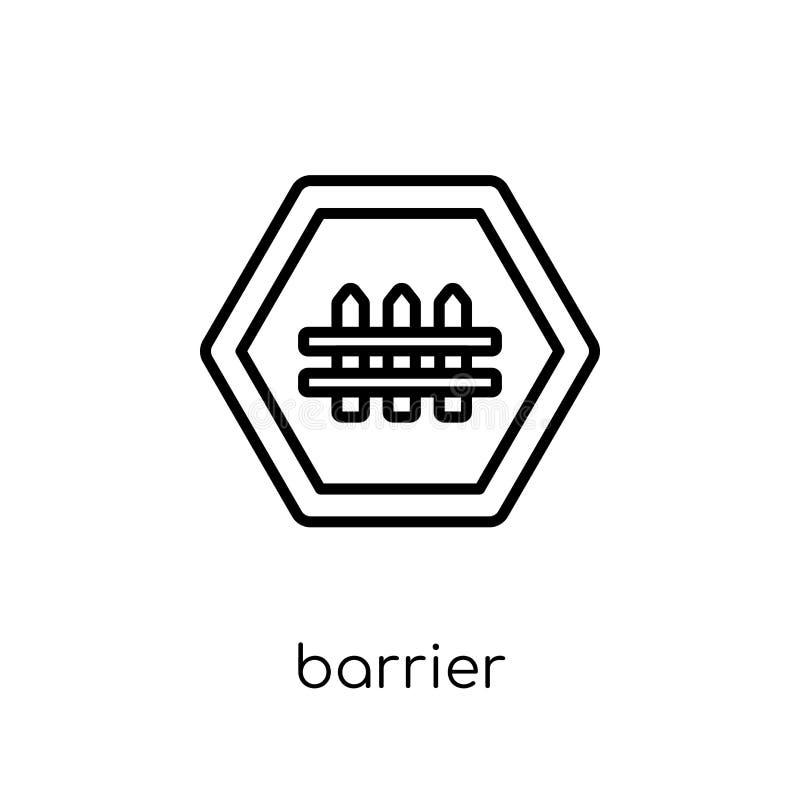 Bariery szyldowa ikona Modny nowożytny płaski liniowy wektorowy bariera znak ilustracja wektor