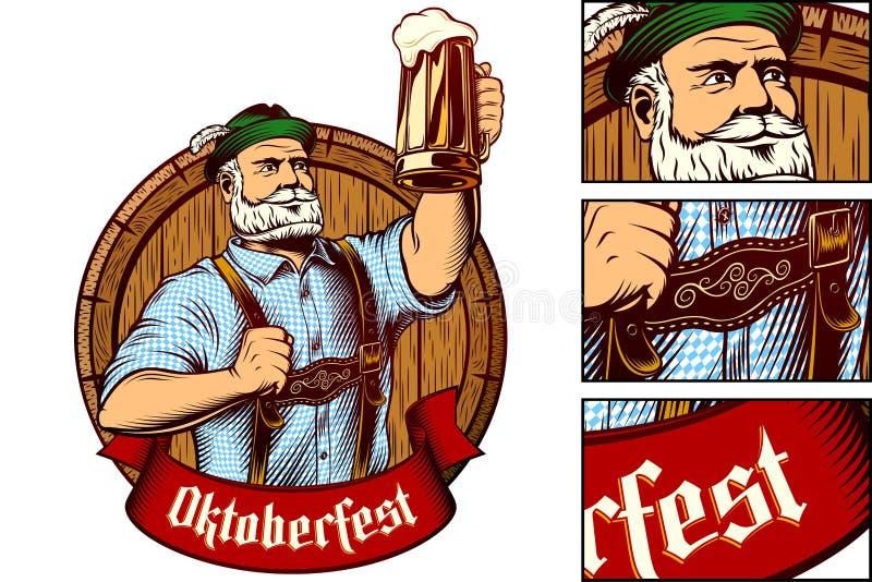 Baril bavarois Lager Foam Engraving en verre de bière d'homme d'Oktoberfest de vecteur illustration libre de droits