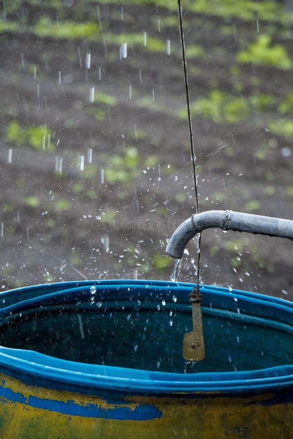 Baril de pluie avec un robinet photo libre de droits