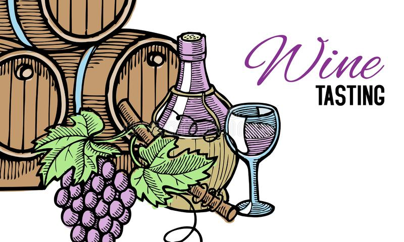Baril de vin, tiré par la main, avec les vignes autour de lui, la bouteille de vin et le verre, d'isolement sur l'illustration bl illustration stock