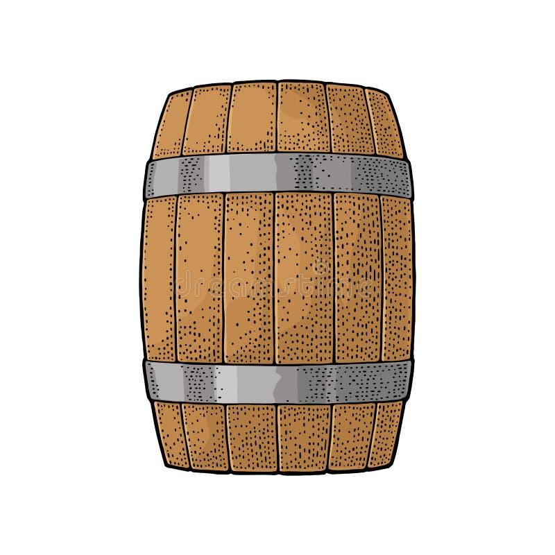 Baril en bois avec des cercles en métal gravant l'illustration de vecteur illustration stock
