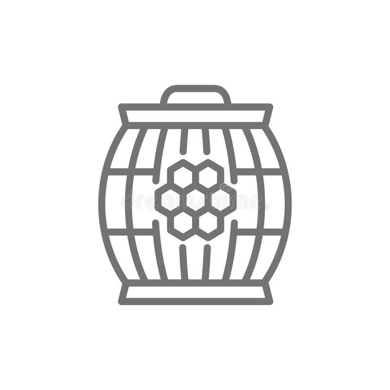 Baril en bois avec la ligne icône de miel illustration stock