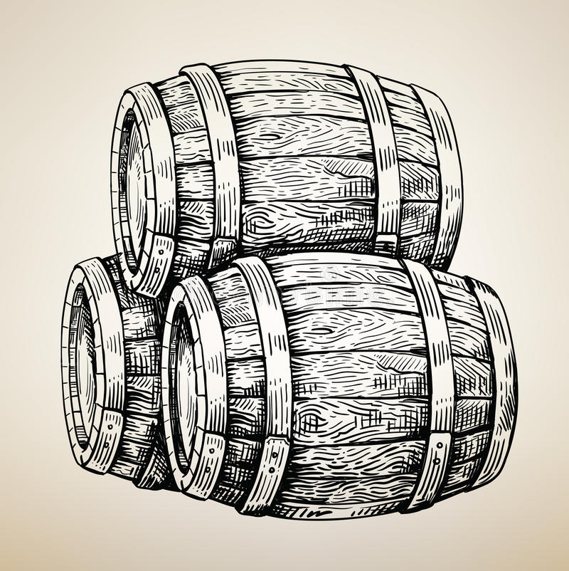 Baril en bois de vecteur illustration de vecteur