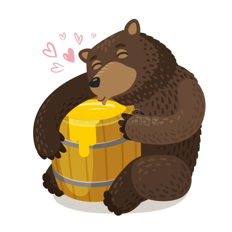 Baril en bois heureux d'étreintes d'ours de miel Illustration de vecteur de dessin animé illustration libre de droits