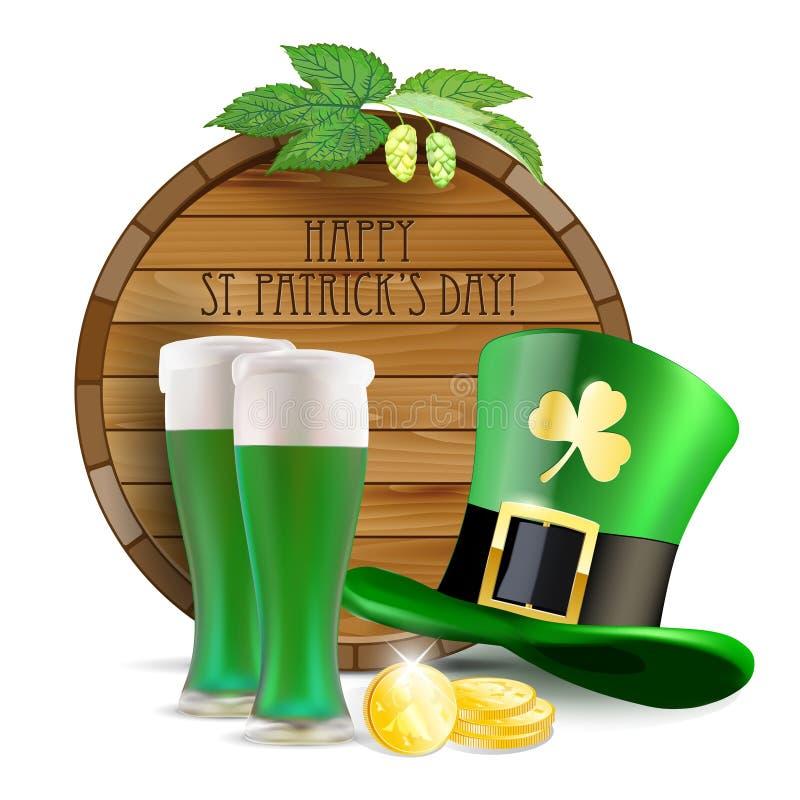Baril en bois, houblon, chapeau vert, bière verte et pièces de monnaie d'or illustration libre de droits