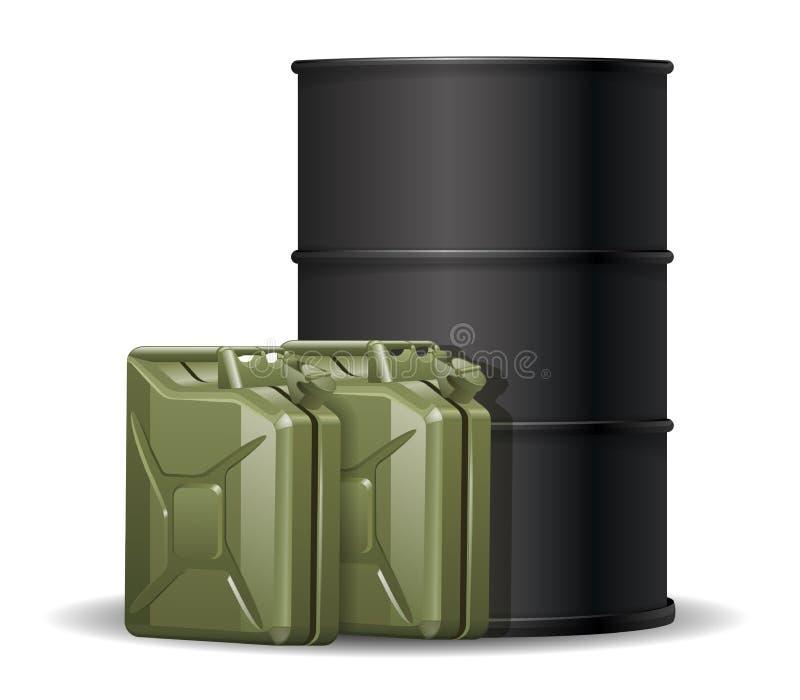Baril et deux boîtes métalliques d'essence illustration de vecteur