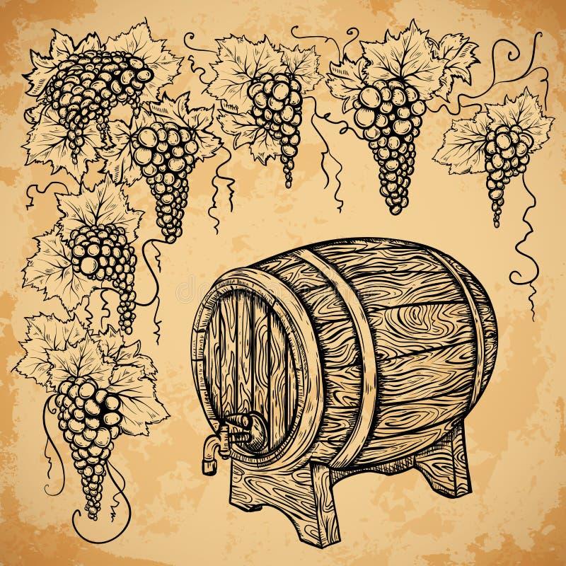 Baril et raisin de vin de vintage sur le fond de papier âgé éléments illustration libre de droits