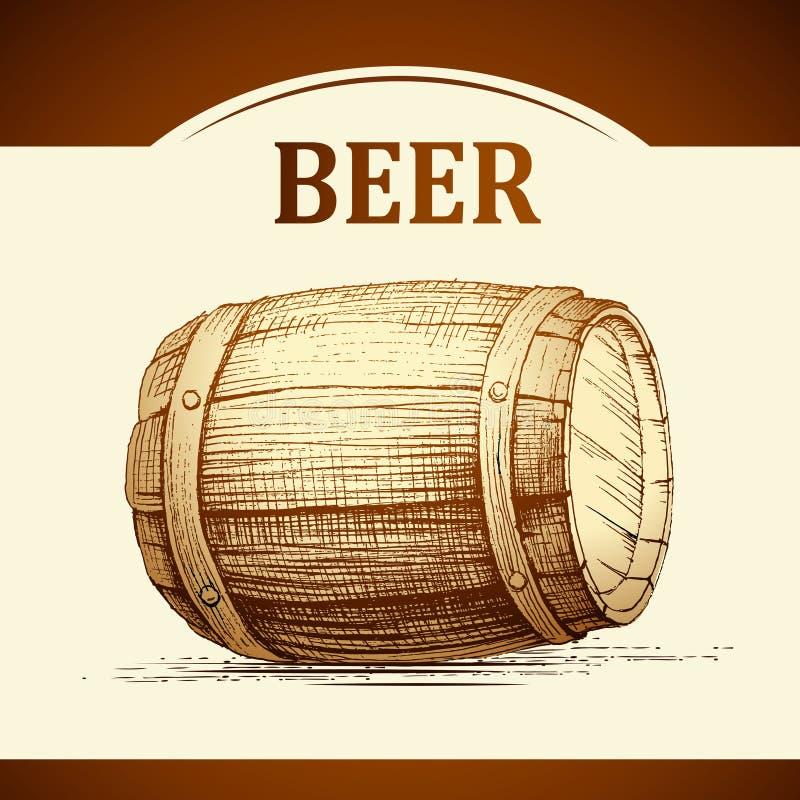 Barile di birra per l'etichetta, pacchetto barilotto d'annata Oktoberfest royalty illustrazione gratis
