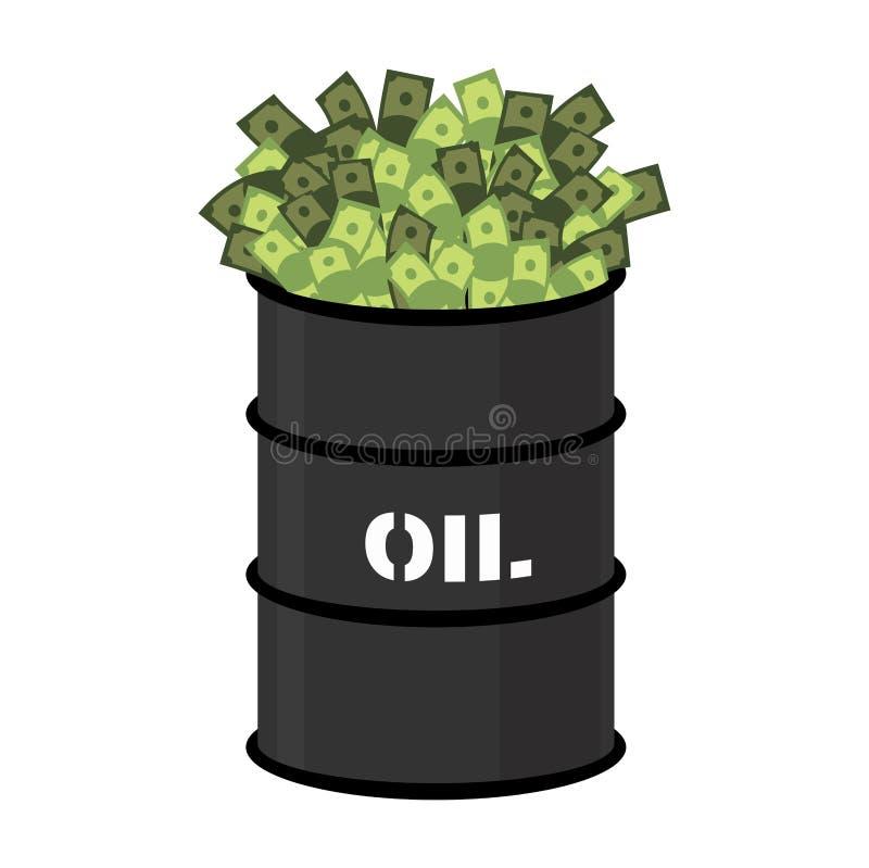 Barile di petrolio e soldi Barilotto e contanti Illustrazione di vettore royalty illustrazione gratis
