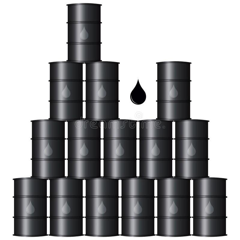 Barili da olio neri del metallo illustrazione di stock
