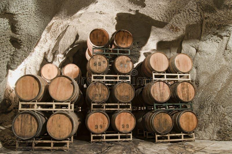 Barili del vino sotterranei immagine stock libera da diritti
