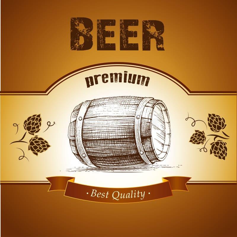 Barillet de bière avec l'houblon illustration stock