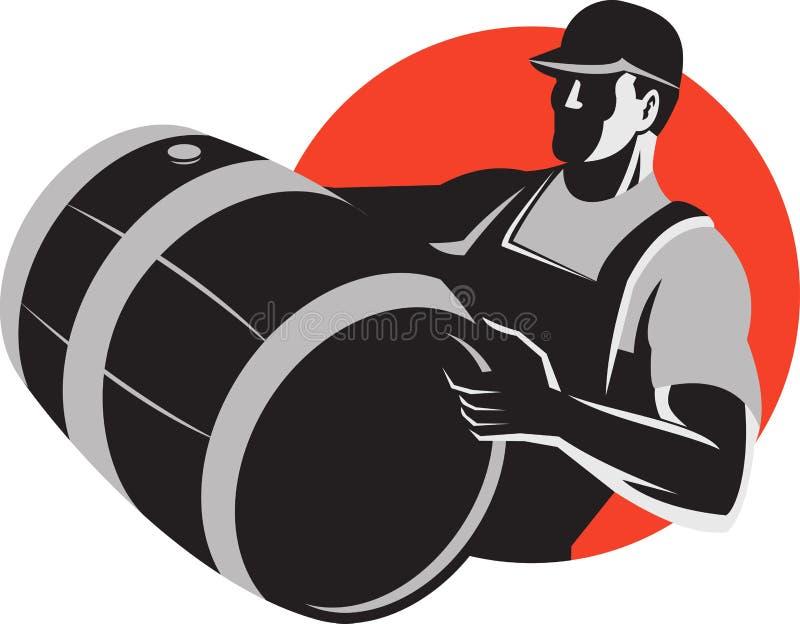 Barillet de transport de tonneau de baril de vin d'homme rétro illustration de vecteur
