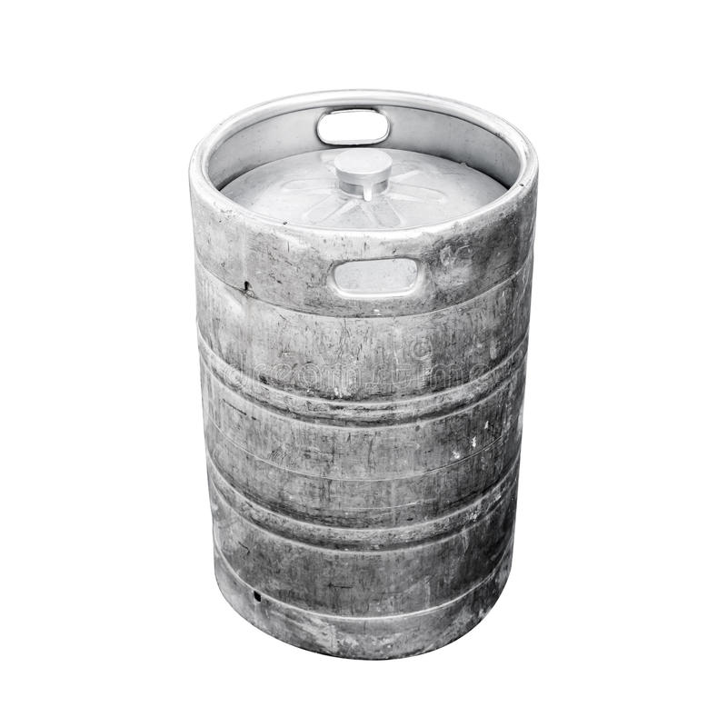 Barillet en aluminium utilisé, un petit baril avec de la bière images libres de droits