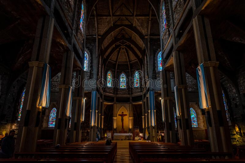 BARILOCHE, ARGENTINA, JUNE 18, 2019: Interior of Nuestra Senora del Nahuel Huapi Cathedral. Decorated with lots of. Argentinian flags royalty free stock photos