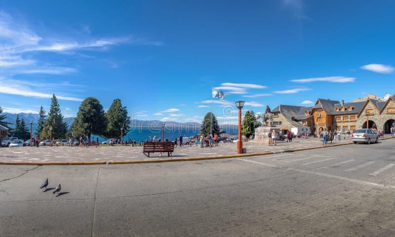 Bariloche main square near Civic Center Centro Civico - Bariloche, Patagonia, Argentina. Bariloche, Argentina - Feb 15, 2018: Bariloche main square near Civic royalty free stock images