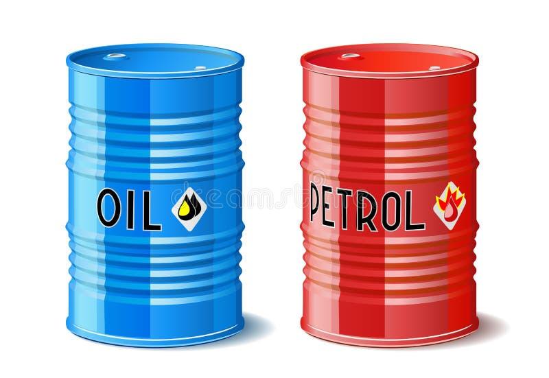 Barilotti del metallo con petrolio e benzina. illustrazione vettoriale