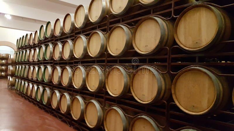 Barilotti di legno con vino impilato in cantina fotografia stock