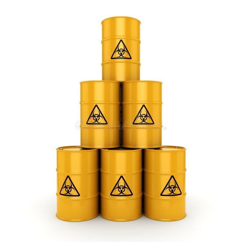 barilotti di rischio biologico della rappresentazione 3D illustrazione di stock