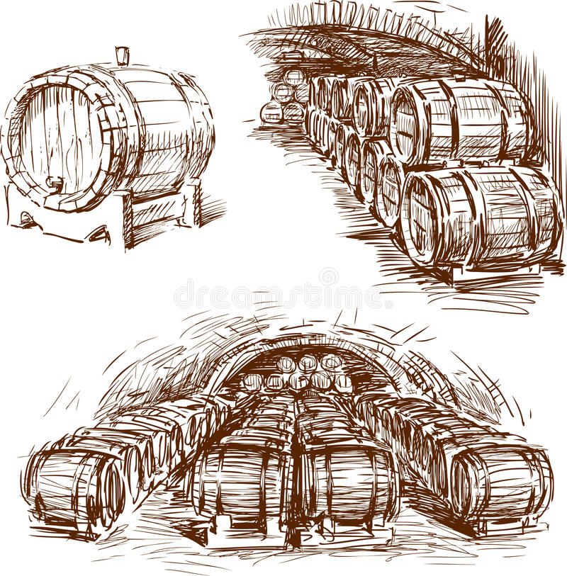 Barilotti di vino royalty illustrazione gratis