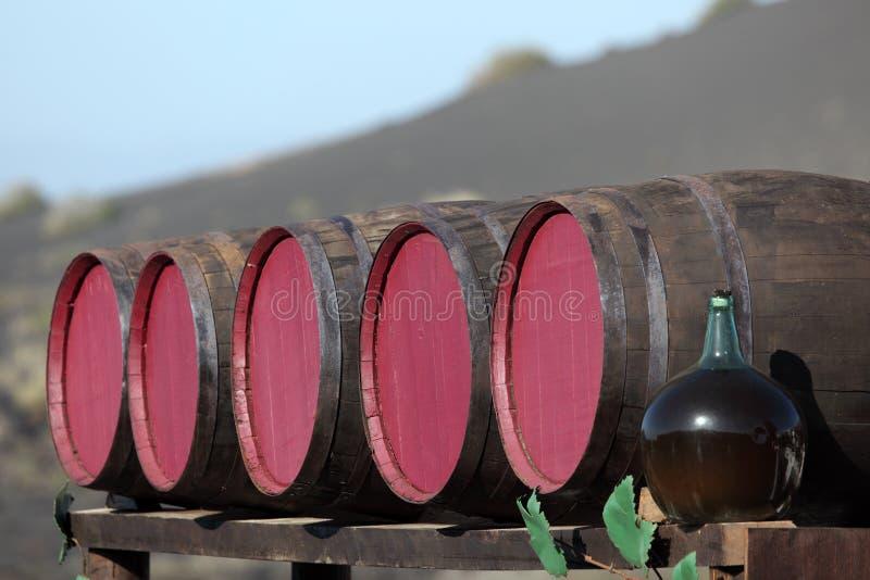 Barilotti di vino ad un bodega fotografie stock libere da diritti