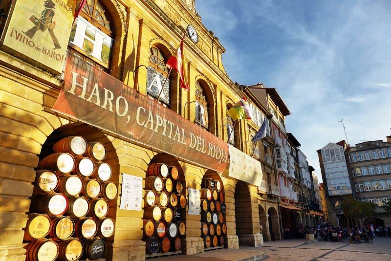 Barilotti di vino di grandi bodegas o winehouses della strada rialzata, La Rioja, Spagna fotografie stock