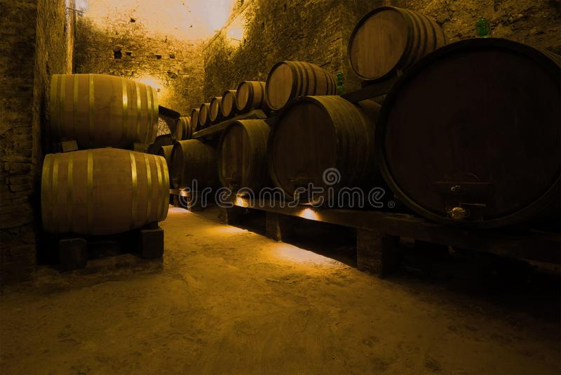 Barilotti di vino nella cantina antica della città di Montepulciano La Toscana, Italia immagini stock libere da diritti