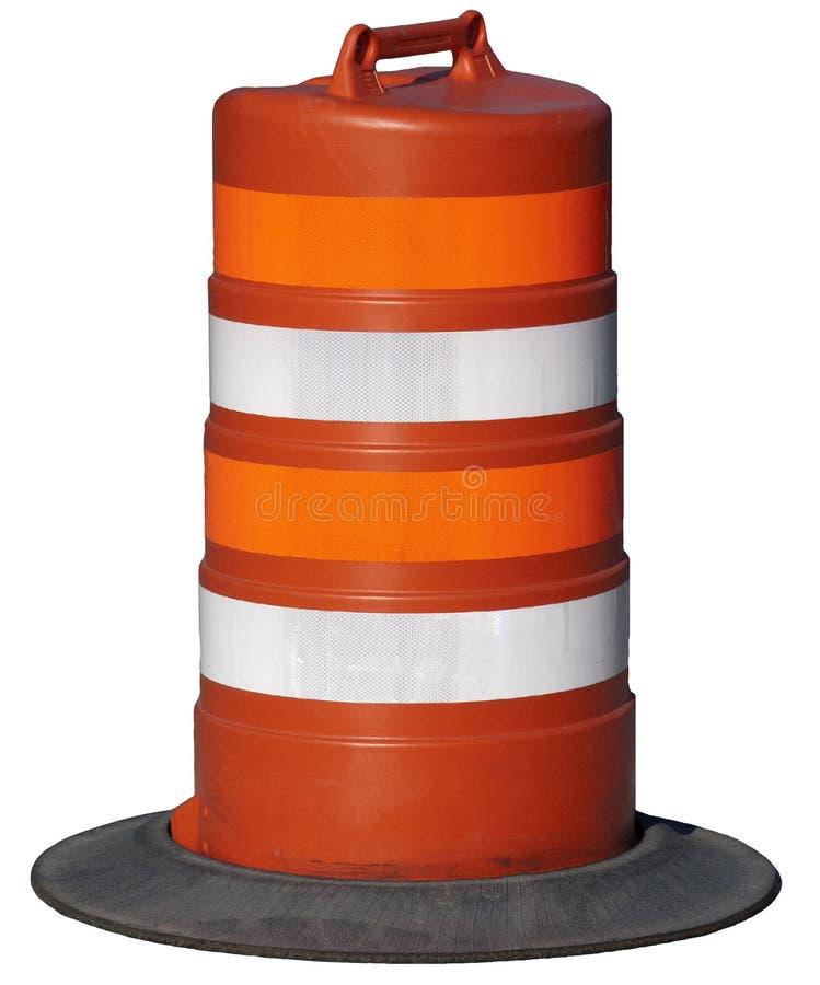 Barilotto arancione della costruzione di strade isolato immagini stock