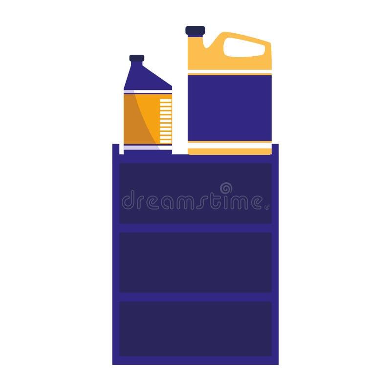 Barilotto con il motore di galloni dell'olio illustrazione vettoriale