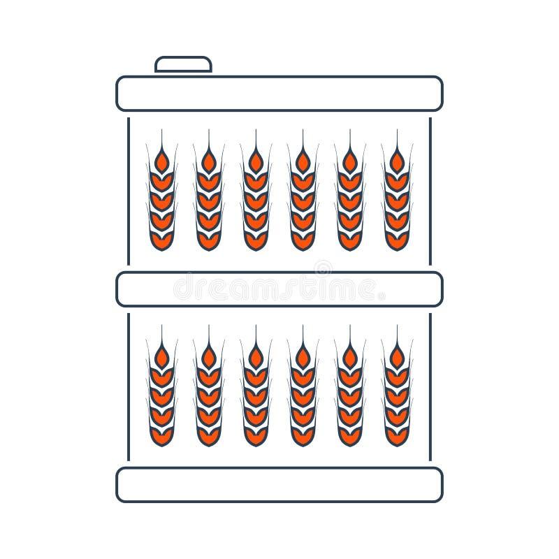 Barilotto con l'icona di simboli del grano illustrazione vettoriale
