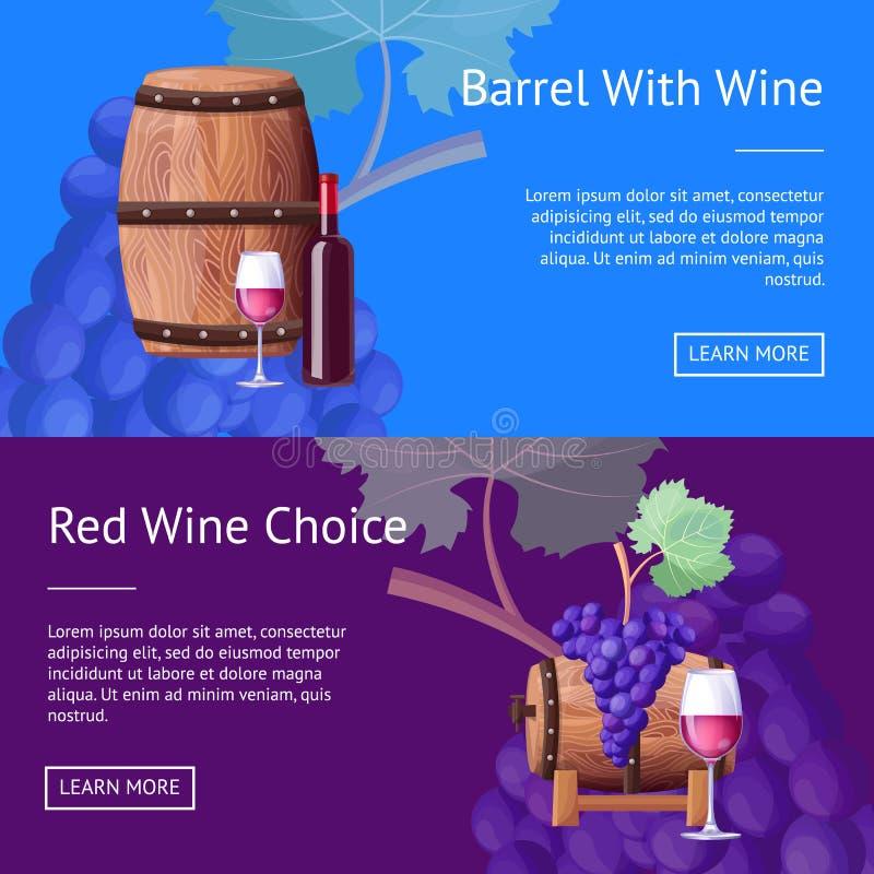 Barilotto con vino rosso e le pagine di Internet di scelta illustrazione di stock