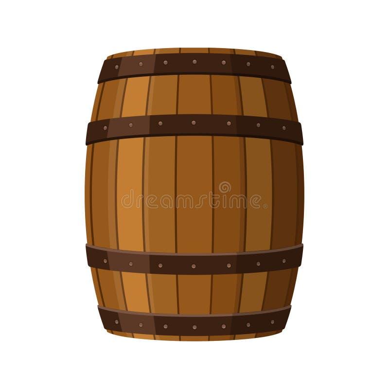 Barilotto dell'alcool, contenitore della bevanda, icona di legno del barile isolata su fondo bianco Barrel per vino, rum, la birr illustrazione di stock