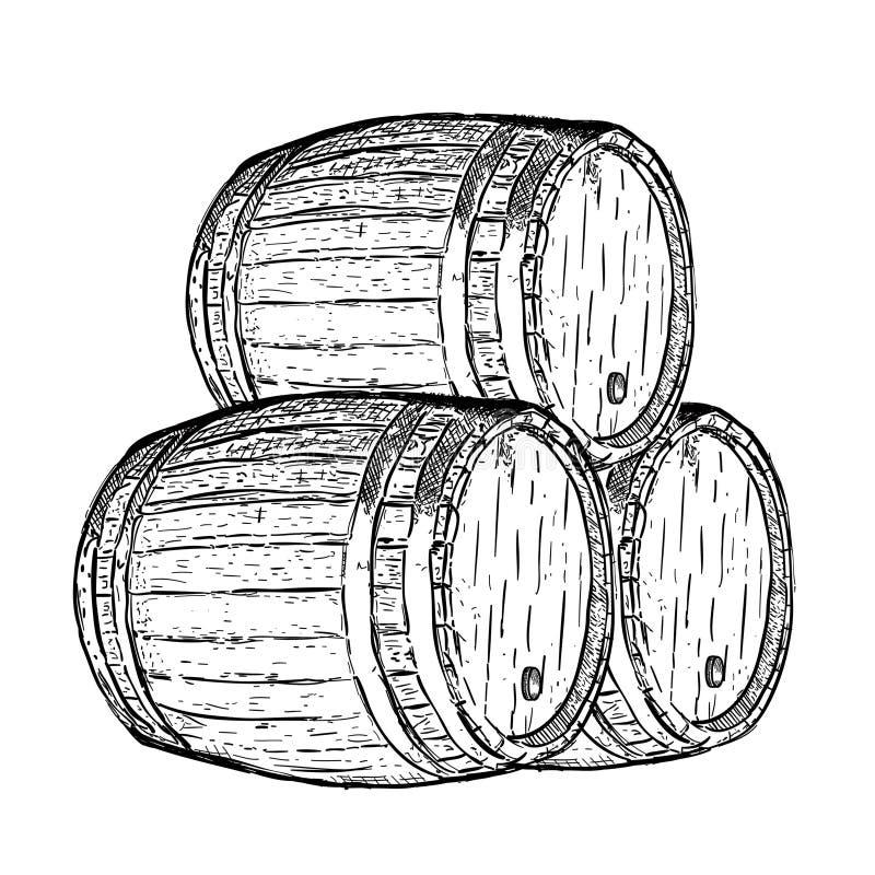 Barilotto di birra del vino dell'incisione illustrazione di stock