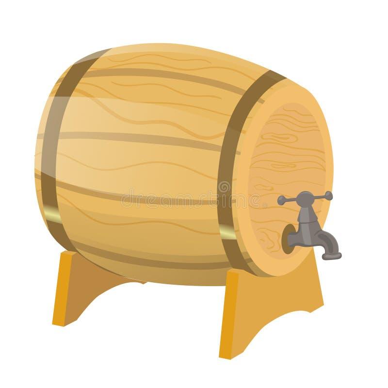Barilotto di birra Isolato dell'illustrazione di vettore su un fondo bianco illustrazione di stock