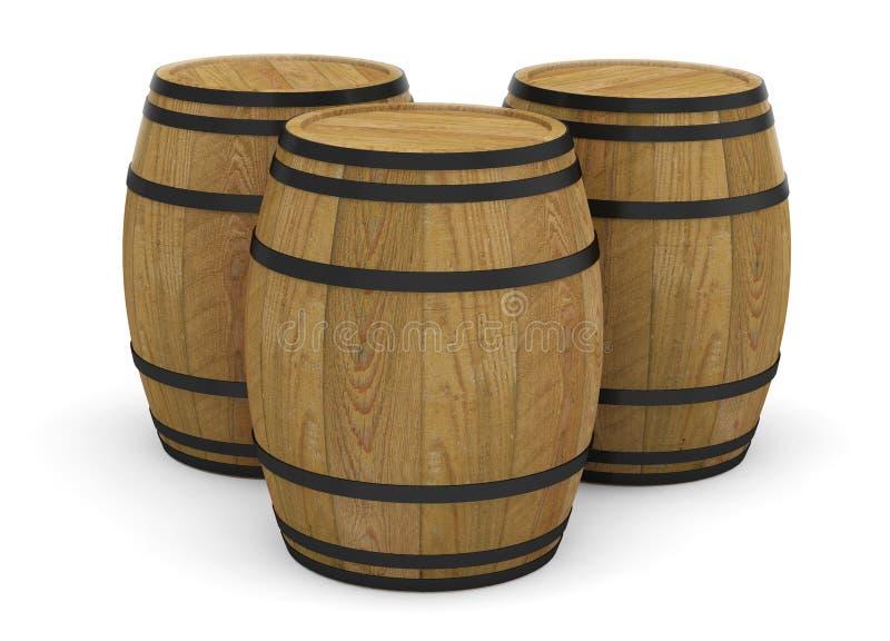 Barilotto di birra di legno dell'alcool dei barilotti di vino royalty illustrazione gratis