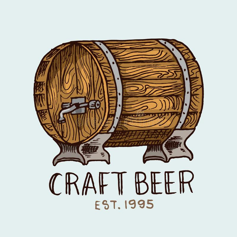 Barilotto di birra nello stile d'annata Etichetta alcolica con gli elementi calligrafici Distintivo americano classico per l'inse illustrazione di stock
