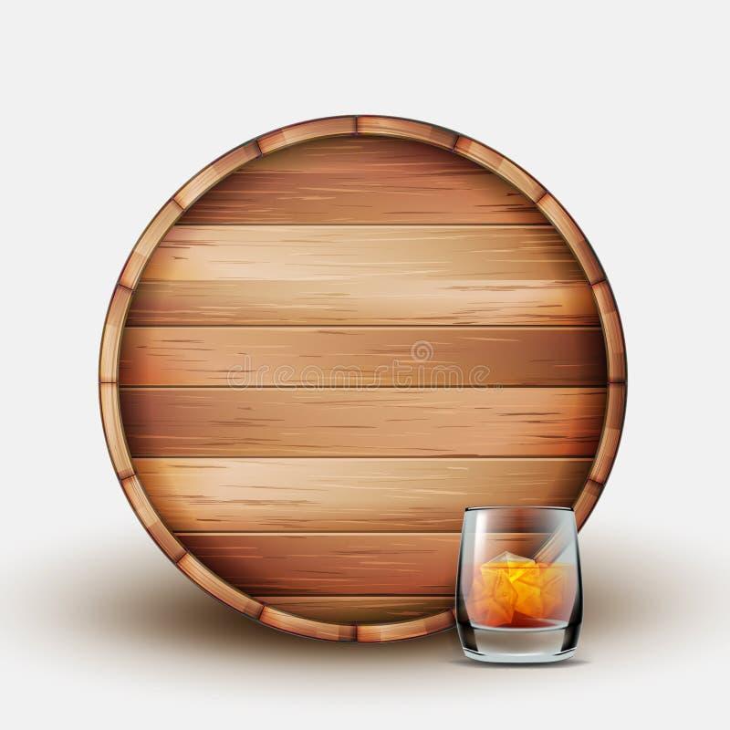 Barilotto di legno in bianco con vetro del vettore del whiskey illustrazione di stock