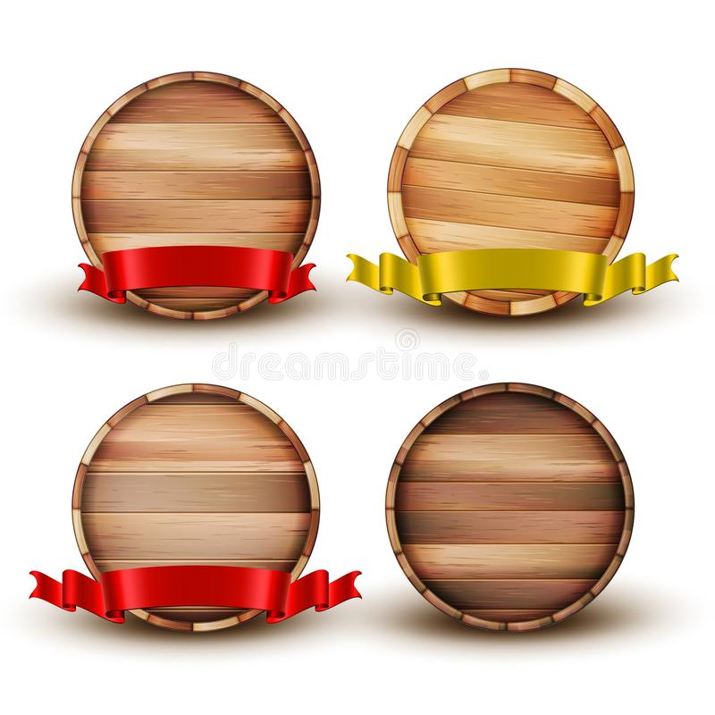 Barilotto di legno di Brown dello spazio in bianco per il vettore dell'insieme dell'alcool illustrazione di stock