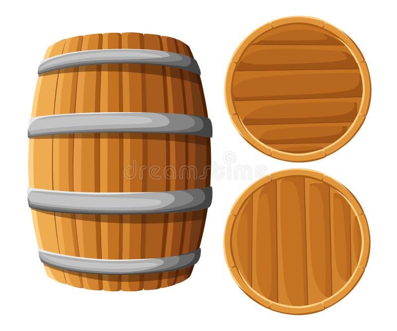 Barilotto di legno con gli anelli del ferro Isolato su priorità bassa bianca Barilotto di birra di legno di vettore Menu della ba royalty illustrazione gratis