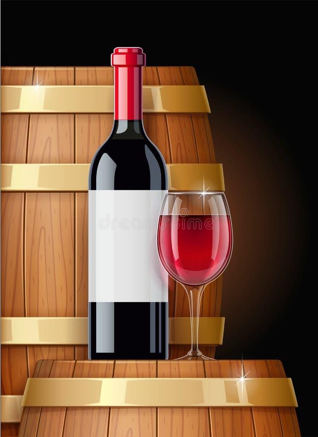 Barilotto di legno con la bottiglia di vino ed il bicchiere di vino Nave per tenere Illustrazione di vettore illustrazione di stock