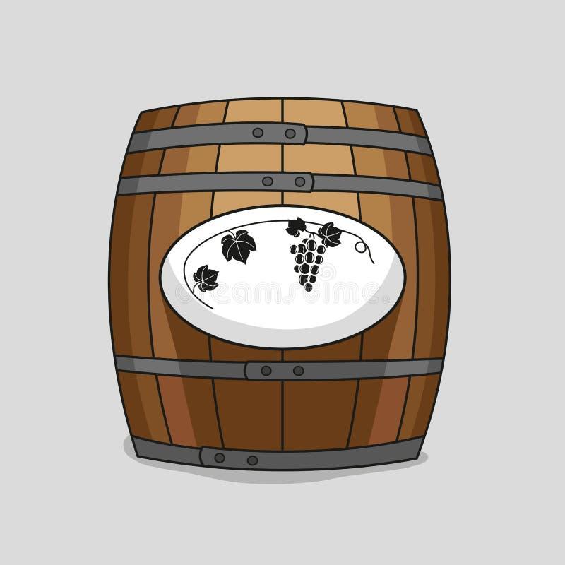 Barilotto di legno con un'immagine dell'uva illustrazione vettoriale
