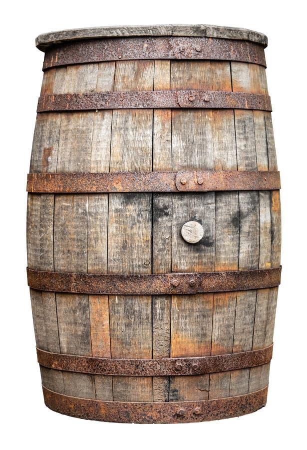 Barilotto di legno d'annata del whiskey o della birra fotografia stock libera da diritti