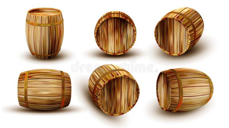 Barilotto di legno d'annata nel vettore differente della sporgenza laterale royalty illustrazione gratis